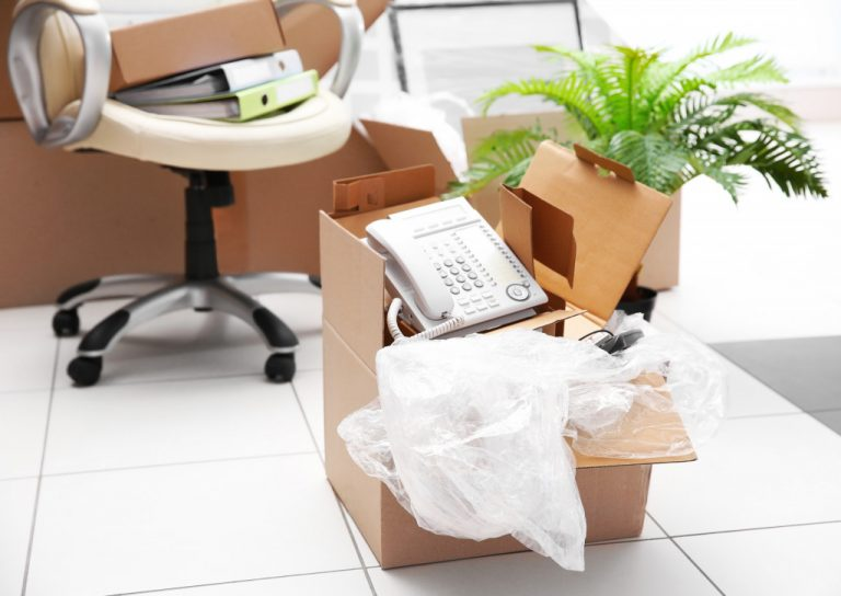 moving boxes with office stuff